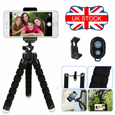 Octopus FLEXIBLE Selfie Stick Tripod Bluetooth Phone Holder Universal • 6£