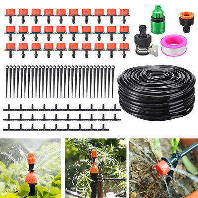 25M Automatic Micro Drip Irrigation Systems Garden Hose Watering System Kits • 10.99£