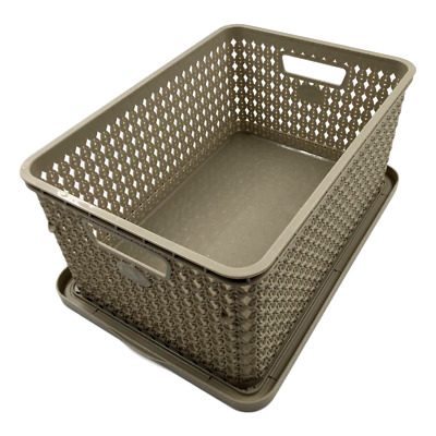 £14.99 • Buy (Set Of 2) 10 Litre Deep Knitted Storage Basket Organizer Box Container With Lid