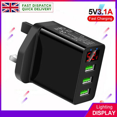3 Port Fast Quick Charge USB LCD Hub Mains Wall Charger Adapter UK Plug Cable • 5.38£