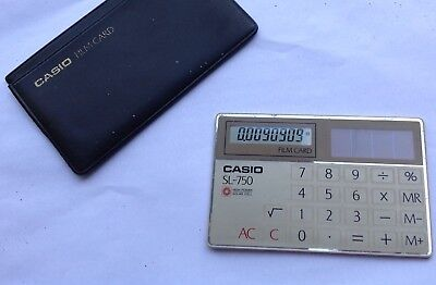 Great Vintage Casio Sl-750 Credit Card Solar Power  Calculator 1970s-1980s • 25£