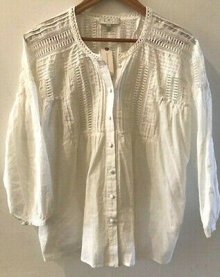 $ CDN63.67 • Buy ANTHROPOLOGIE Pleated Lace Cotton WHITE Blouse LARGE NWT