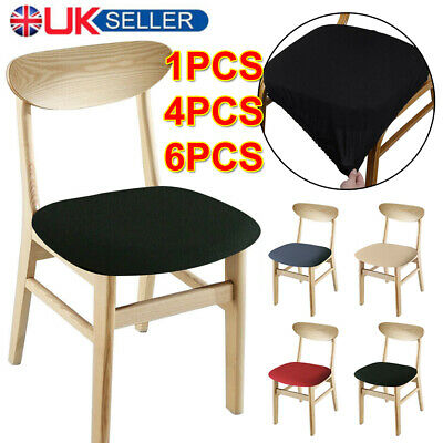 1/4/6PCS Home Dining Chair Seat Covers Soft Removable Elastic Stretch Slipcovers • 6.99£