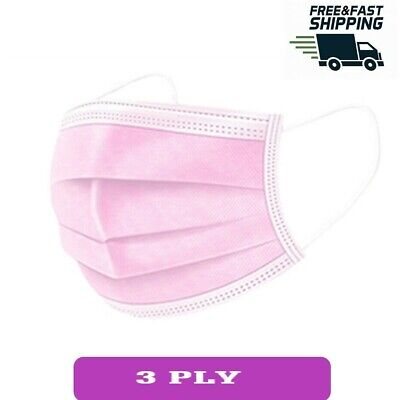 10 50 Pink Disposable Face Masks 3 Ply Face Covers Mask • 7.99£