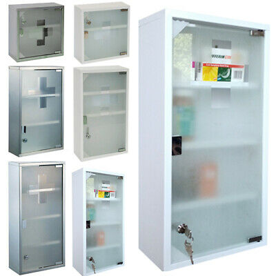 Medicine Cabinet First Help Wardrobe Stainless Steel Apothecary Cabinet • 37.35£