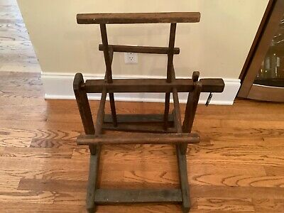 Antique YARN WINDER Primitive & Crude STRING SPINNER Oak WOOD NAILS Decor C.19th • 70.93£