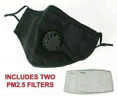 $ CDN9.16 • Buy Reusable Washable Cotton Cloth Face Mask With Valve / Pocket + 2 PM2.5 Filters