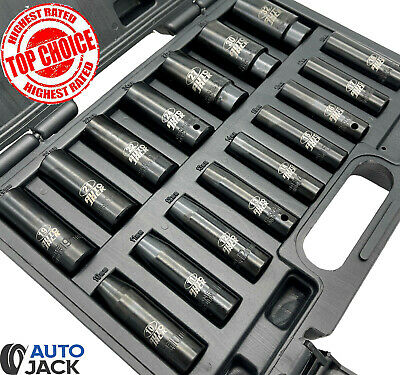 Autojack 1/2  Drive Metric Deep Impact Socket Set 16 Piece 10-32mm In Case • 29.99£