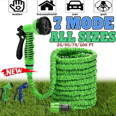 25 50 75 100 Feet Expandable Flexible Garden Water Hose W/ Spray Nozzle • 9.47£