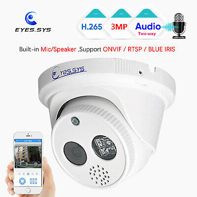 Eyes.sys Two-way Audio 3MP 48V POE IP ARRAY LED Security DOME Camera ONVIF XMEYE • 28.28£