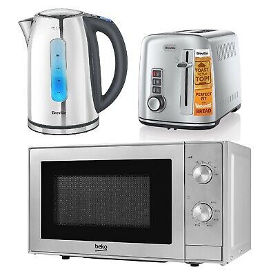 Stainless Steel Set Of Beko Solo Microwave & Breville 2-Slice Toaster & Kettle • 184.99£