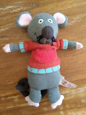 Grey Soft Knitted Marie Mouse Toy Grannimals Latitude Enfant • 8£