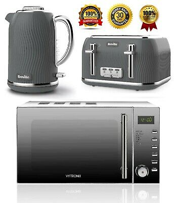 £219.99 • Buy Breville Electric Kettle And 4-Slice Toaster Set & Digital Microwave Oven - GREY