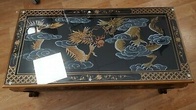 Chinese Oriental Black Lacquer Coffee Table With Dragon Design. Hand Made • 350£