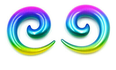 $10.49 • Buy Pair 00g 10mm Rainbow Spirals Horseshoes Snails Pinchers Tapers Gauges