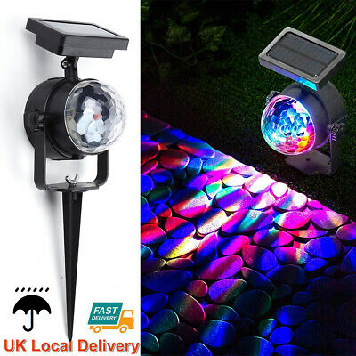 Solar Spot Lights LED Colour Changing Projection Stake Garden Light Outdoor • 10.85£
