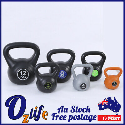 AU39.80 • Buy 6-14KG Kettlebell All Black Weight Exercise Home Gym Workout