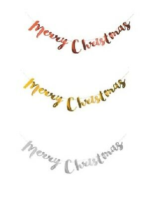 Merry Christmas Typography Banner Bunting Garland Hanging XMAS Party Decoration • 2.49£