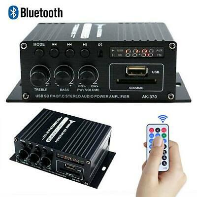 12V HiFi Stereo Power Amplifier Mini Audio Digital FM AMP Remote Bluetooth 20W • 13.96£