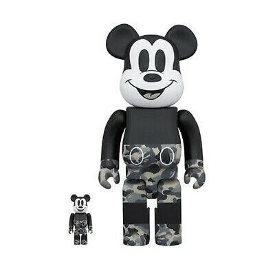 $323.99 • Buy Medicom Be@rbrick A Bathing Ape Bape Mickey  400%+100% Bearbrick MONOTONE New