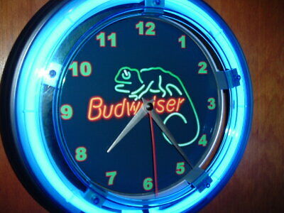 $ CDN104.55 • Buy Budweiser Bud Lizard Beer Bar Advertising Man Cave Neon Clock Sign