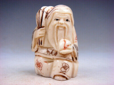 Japanese Detailed Hand Carved Netsuke Sculpture Old Man Wheat Peach #03101806C • 18.53£