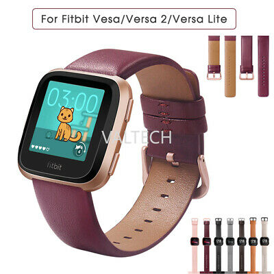 $ CDN15.57 • Buy For Fitbit Versa 2 1 Lite Genuine Leather Watch Strap Band Wristband Replacement