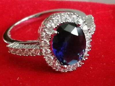 £20.11 • Buy 925 Sterling Silver Ring Set With 8.84 Carat Blue Tanzanite Stone With Cubics