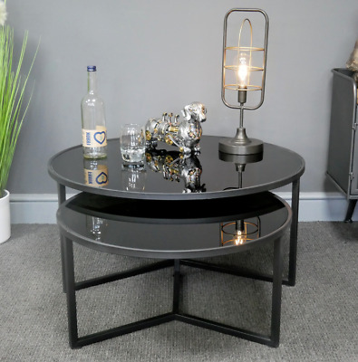 Set Of 2 Industrial Coffee Tables Round Metal Nesting Lamp Unit Black Glass Tops • 209.99£