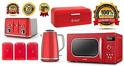 Red Kitchen Set Breville Lustra Kettle & Toaster COMFEE' Microwave Bread Bin NEW • 299.99£