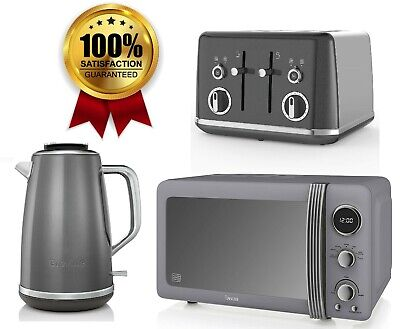 £219.99 • Buy Grey Kitchen Set 4 Slice Toaster And Electric Kettle Breville & Swan Microwave
