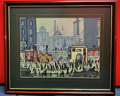 Vintage L.S Lowry Style Factory Scene Framed Tapestry Needlepoint Art Picture • 35£