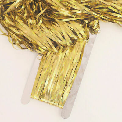 2M Party Decoration Foil Fringe Tinsel Shimmer Curtain Wedding Birthday--Gold • 0.99£