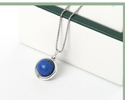 Beautiful 925 Sterling Silver Spinning Ball Lapis Lazuli Necklace 45cm Chain  • 16.99£