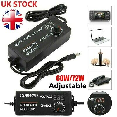 AC/DC 3V-24V Electrical Power Supply Adapter Charger Variable Voltage Adjustable • 9.79£