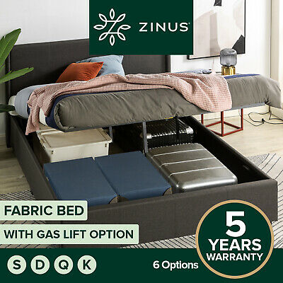 AU349 • Buy Zinus Bed Frame Gas Lift QUEEN DOUBLE KING SINGLE Base Platform Fabric Storage