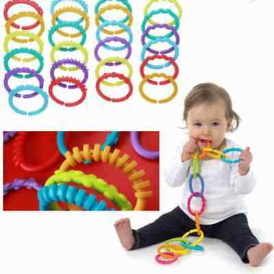 6Pcs Rainbow Teether Ring Links Plastic Baby Kids Infant Stroller Play Toys • 3.25£