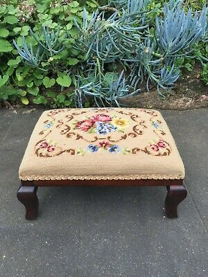 AU99 • Buy Antique Victorian Mahogany Foot Stool W Tapestry!