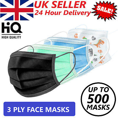 Disposable Face Masks - 3 Ply Non Medical Surgical Protective Guard Covering UK  • 6.95£