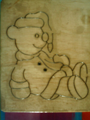 CHRISTMAS BEAR  SANTA OUTFIT * RARE * APPLIQUE * LARGE 15x12.5 Wooden Die Cutter • 19.99£