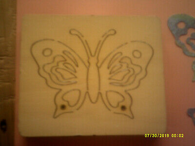 RAINBOW BUTTERFLY With HEARTS * RARE HTF *retired WOODEN DIE CUTTER  +FREE GIFTS • 19.99£