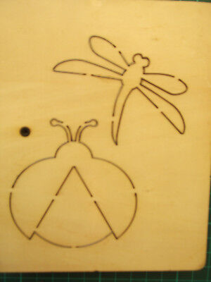 LADYBIRD & DRAGONFLY * RARE ACCUCUT * LARGE DOUBLE Wooden 2 In 1 Die Cutter+GIFT • 14.99£