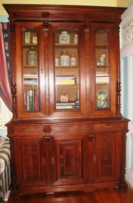 AU2450 • Buy Very Large Antique Silky Oak Bookcase Display Cabinet Sideboard Mansion IPSWICH