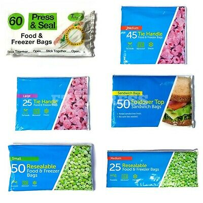 Food Fridge Freezer Bags Zip Lock Large, Medium & Small, Tie Handle, Resealable • 3.34£