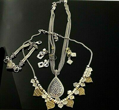 $ CDN1.27 • Buy Silver Tone Modern Jewelry Lot 2 Necklaces 2 Pr Pierced Earrings 1 Bracelet #94