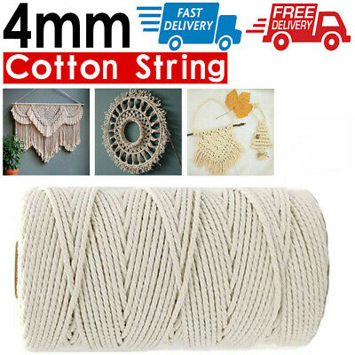 AU13.89 • Buy 4mm 100m Natural Cotton Twisted Cord Craft Macrame Artisan Rope Craft String AU