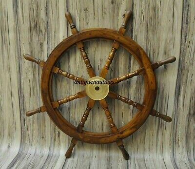 £62.48 • Buy 36 Inch Wooden Ship Steering Wheel Pirate Décor Wooden Brass Finishing Wall Boat