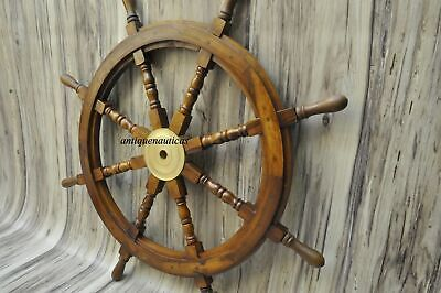 £64.90 • Buy 36 Inch Wooden Ship Steering Wheel Pirate Décor Wooden Brass Finishing Wall Boat