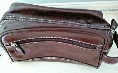 Men's Brown Faux Leather Travel Bag. M & S. Centre And Side Zips.11 , 28cm Long • 1.25£