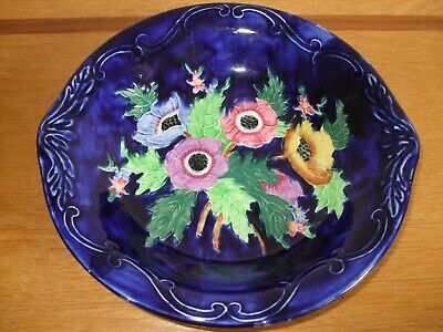 Vintage Maling Ware Cobalt Blue Dish With Anemones Lovely Colours • 10£